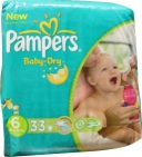 Pampers Baby dry extra large 16+ kilo maat 6 33st