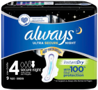 Always Maandverband Ultra Secure Night met Ultra met Vleugels 9st