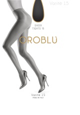 Oroblu Panty Vanite 15 Denier Lycra Satin 42-44 Nearly Black 1pr