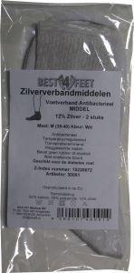 Best4feet Antibacteriele verbandsok wit m 1pr