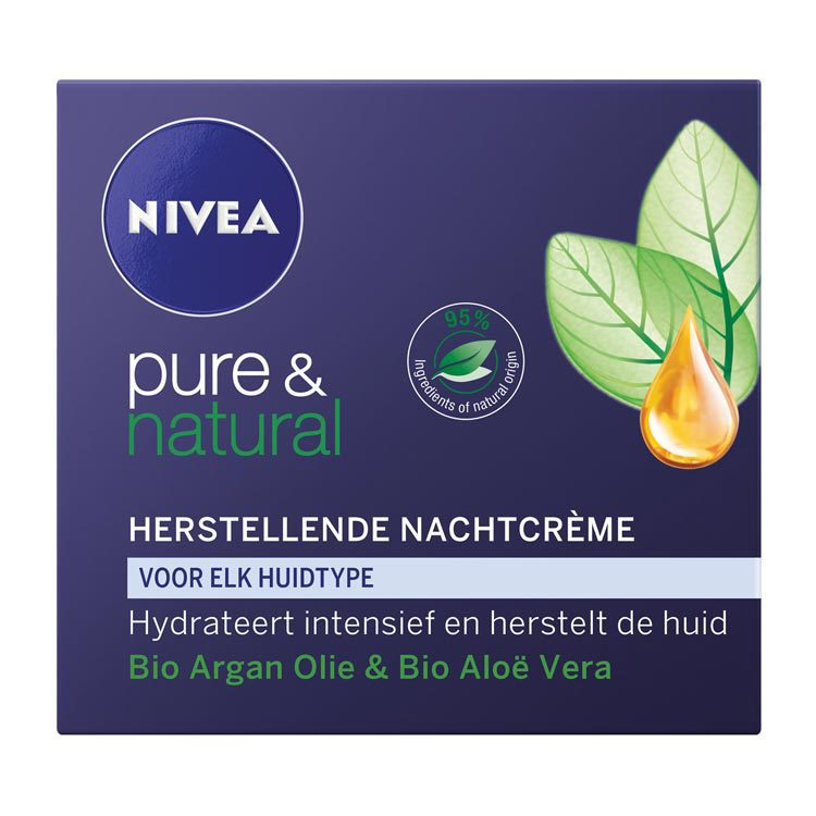 Nivea Pure and Natural Herstellende Nachtcreme Normale and Gemengde Huid 50ml