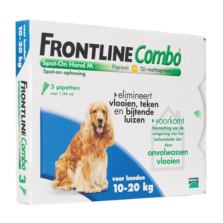 Frontline Combo hond m 10 20kg bestrijding vlo en teek 3st