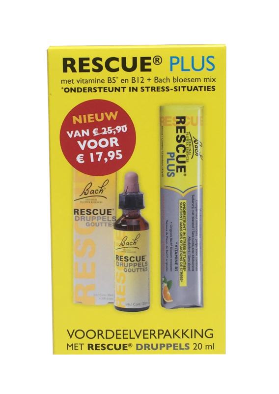 Bach Rescue Remedy voordeelverpakking druppels 20ml + Gratis bonbons 10st 2st