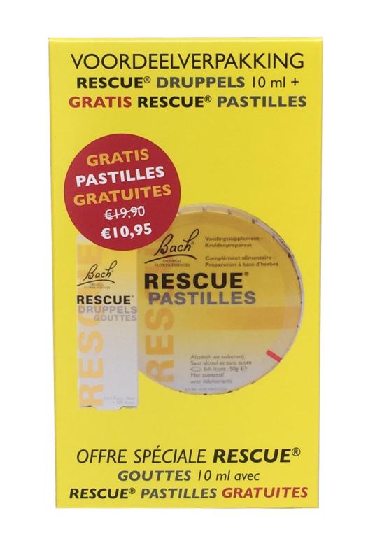 Bach Rescue Remedy druppels 10ml + Gratis pastilles 10ml